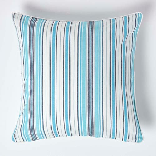 HOMESCAPES - 100% Cotton - New England Striped Large Cushion Cover - 60 x 60 cm Square - 24 x 24 Inches - Blue Navy White - 100% Cotton Sofa Pillow Cushion Cover- Washable from HOMESCAPES