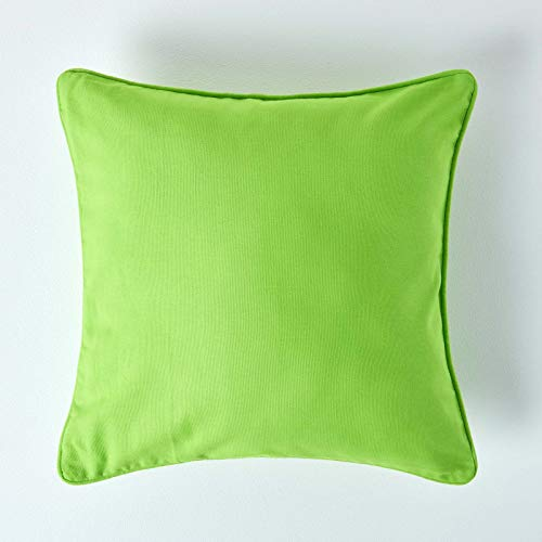 Homescapes - 100% Cotton Plain Green Large Cushion Cover - 60 x 60 cm Square - 24 x 24 Inches Bright Lime Green Sofa Cushion Pillow Cover - Washable from HOMESCAPES