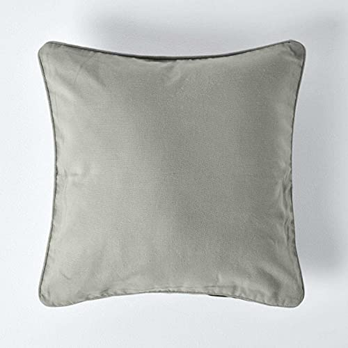 HOMESCAPES - 100% Cotton Plain Grey Cushion Cover - 45 x 45 cm Square - 18 x 18 Inches Light Grey Silver Sofa Cushion Pillow Cover - Washable from HOMESCAPES