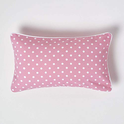Homescapes - 100% Cotton - Polka Dots - Filled Cushion - 30 x 50 cm Rectangular - 12 x 20 Inches - Pink White - 100% Cotton - Cover Well Filled Pad - Washable from Homescapes