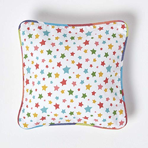 HOMESCAPES - 100% Cotton - Stars - Cushion Cover - 30 x 30 cm Square - 12 x 12 Inches - Multi Colour Orange Red Blue Yellow - 100% Cotton Sofa Pillow Cushion Cover - Washable from HOMESCAPES