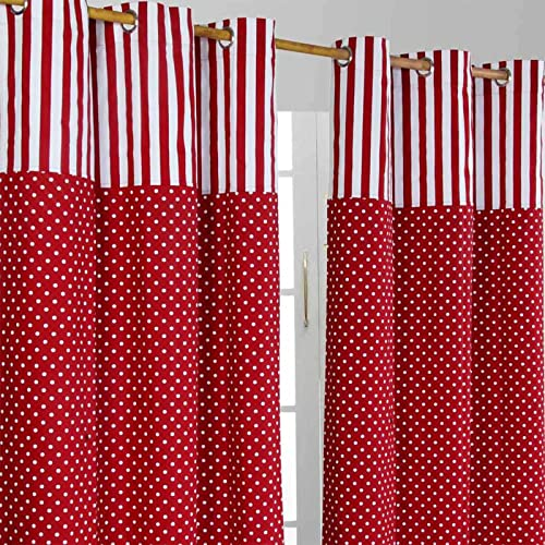 "HOMESCAPES 100% Cotton Unlined Eyelet Curtain Pair - Polka Dots - Red - 137cm (54"") Wide x 228cm (90"") Drop from HOMESCAPES"