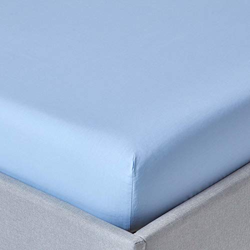 "HOMESCAPES Light Blue Deep Fitted Sheet (12"") Small Double 200 TC 400 Thread Count Equivalent Pure Egyptian Cotton Bed Sheet with Fully Elasticated Skirt from HOMESCAPES"