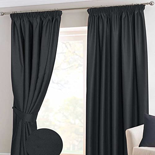 "HOMESCAPES Black Pencil Pleat Blackout Thermal Curtain Pair Width 117cm (46"") x 137cm (54"") Drop Herringbone Chevron Textured Retro Geometric Design. FREE SWATCHES. from HOMESCAPES"