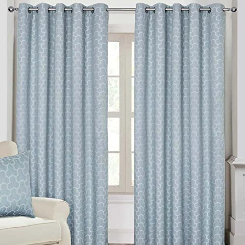 "HOMESCAPES Blue Geometric Blackout Curtains Pair Width 167cm (66"") x 182cm (72"") Drop Genuine 3 Pass Blackout Lining Heavy Weight Jacquard Eyelet Curtain from HOMESCAPES"