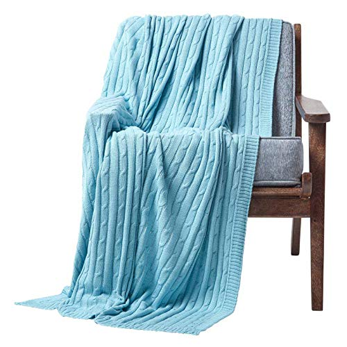 HOMESCAPES Pastel Blue Cable Knit Throw 130 x 170 cm Combed Cotton Soft and Cosy Blanket Bed and Sofa Throw For Armchairs and Single Beds from HOMESCAPES
