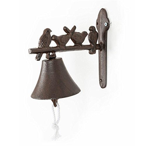 HOMESCAPES Cast Iron Doorbell with Wall Bracket and decorative Birds on a Branch Rustic Style Door Bell from HOMESCAPES
