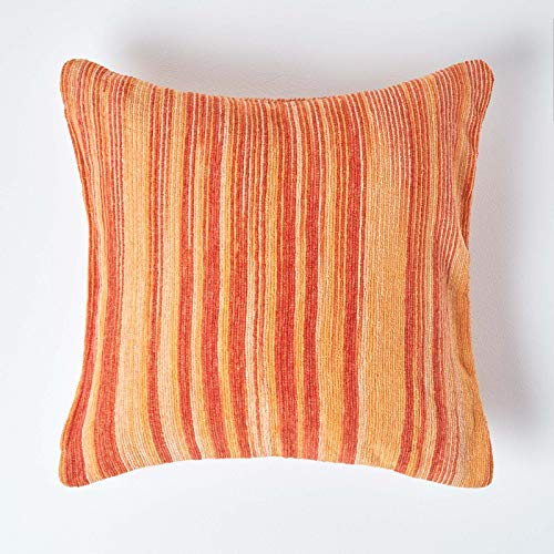 HOMESCAPES Cotton Chenille Tie and Dye Cushion Cover Orange 60 x 60 cm or 24 x 24 inches from HOMESCAPES