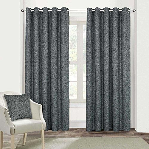 "HOMESCAPES Dark Grey Textured Boucle Blackout Curtains Pair Width 228cm (90"") x 228cm (90"") Drop Genuine 3 Pass Blackout Lining Heavy Weight Eyelet Curtain from HOMESCAPES"