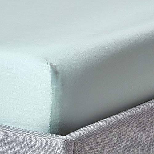 Homescapes Plain Duck Egg Blue Fitted Sheet Single Size 400 Thread Count Organic Cotton Bedding Percale Hypoallergenic Anti Dust Mite from Homescapes