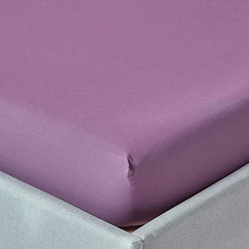 "HOMESCAPES Purple Grape Extra Deep Fitted Sheet (18"") King 200 TC 400 Thread Count Equivalent Pure Egyptian Cotton Bed Sheet with Fully Elasticated Skirt from HOMESCAPES"