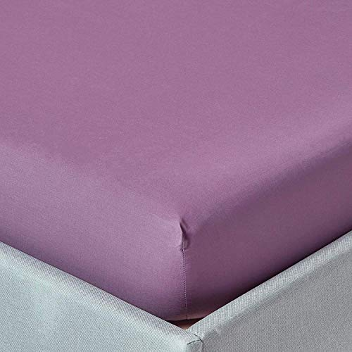 "Homescapes Extra (18"") Deep Pure Cotton Super King Size Fitted Sheet Grape Purple Plain Dyed 200 Thread Count 100% Cotton Percale Anti Allergen Bedding from Homescapes"