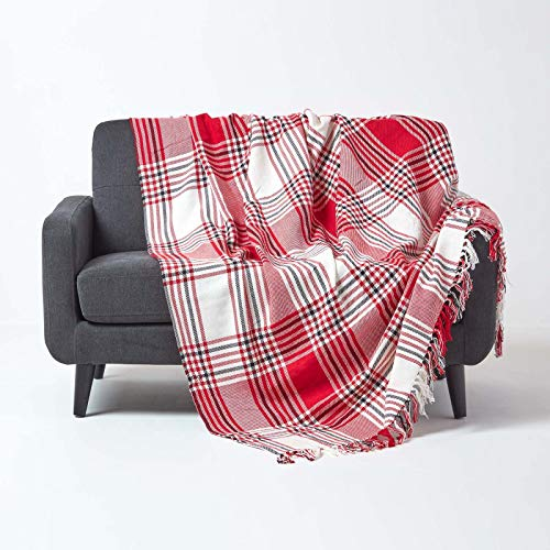 HOMESCAPES Extra Large Red Tartan Throw 100 x 140 Inches or 254cm x 355cm, 100% Cotton Sofa throw for Large 3 Seater and 4 Seater Settees and Sofas from HOMESCAPES
