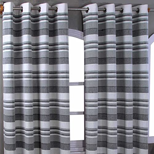 "HOMESCAPES Grey Black White Eyelet Curtain Pair 137cm (54"") Wide x 137cm (54"") Drop Morocco Stripe Design Ring Top Curtain Pair from HOMESCAPES"
