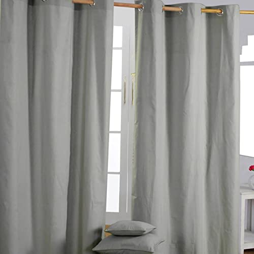 "HOMESCAPES Grey Eyelet Curtain Pair 137cm (54"") Wide x 228cm (90"") Drop Plain Heavy Unlined Curtains from HOMESCAPES"