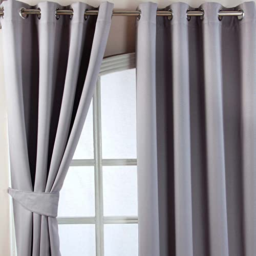 "HOMESCAPES Grey Eyelet Ring Top Blackout Thermal Curtain Pair Width 228cm (90"") x 228cm (90"") Drop Herringbone Chevron Textured Retro Geometric Design. FREE SWATCHES. from HOMESCAPES"