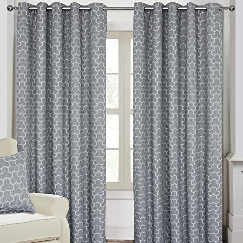 "HOMESCAPES Grey Geometric Blackout Curtains Pair Width 167cm (66"") x 137cm (54"") Drop Genuine 3 Pass Blackout Lining Heavy Weight Jacquard Eyelet Curtain from HOMESCAPES"