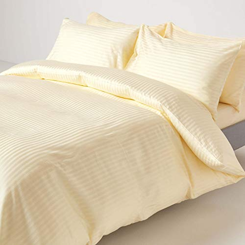 HOMESCAPES Pastel Yellow Pure Egyptian Cotton Duvet Cover Set King 330 TC 500 Thread Count Equivalent Satin Stripe Quilt Cover 2 Pillowcases Included Bedding Set from HOMESCAPES