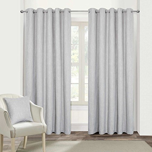 "HOMESCAPES Light Grey Textured Boucle Blackout Curtains Pair Width 167cm (66"") x 182cm (72"") Drop Genuine 3 Pass Blackout Lining Heavy Weight Eyelet Curtain from HOMESCAPES"