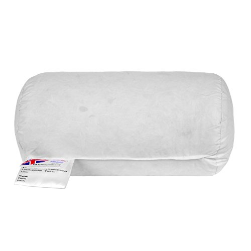 "HOMESCAPES Duck Feather Bolster Cushion Pad 18 x 30 cm (7"" x 12"") Inner Insert Filler with 100% Cotton Down Proof Cover Machine Washable from HOMESCAPES"