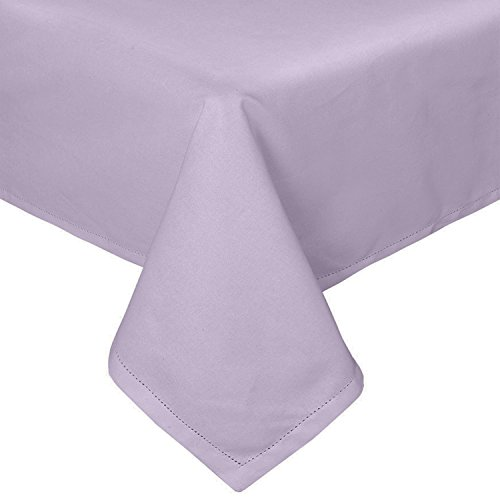 Homescapes Mauve Cotton Tablecloth 4 Seater Square 137 x 137 cm (54 x 54 Inches) Washable Hand Woven 100% Plain Cotton with Decorative Ladder Stitch Edge from HOMESCAPES