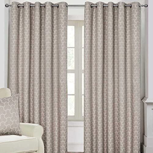 "HOMESCAPES Natural Geometric Blackout Curtains Pair Width 117cm (46"") x 137cm (54"") Drop Genuine 3 Pass Blackout Lining Heavy Weight Jacquard Eyelet Curtain from HOMESCAPES"