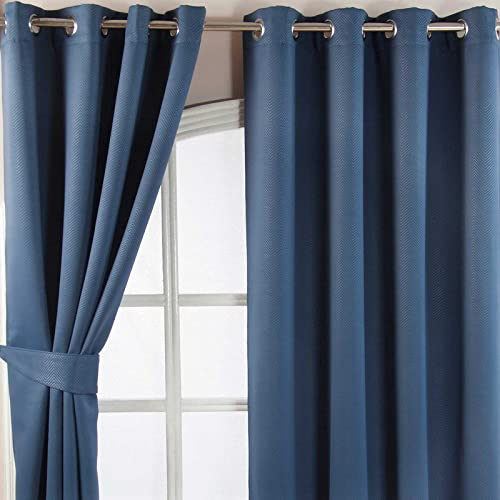 "HOMESCAPES Navy Blue Eyelet Ring Top Blackout Thermal Curtain Pair Width 117cm (46"") x 137cm (54"") Drop Herringbone Chevron Textured Retro Geometric Design. FREE SWATCHES. from HOMESCAPES"