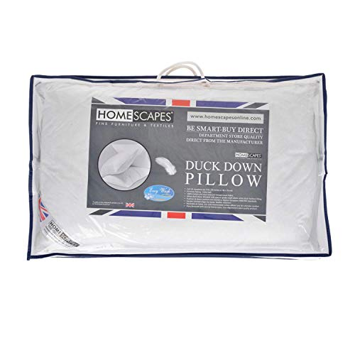 HOMESCAPES - New White Duck DOWN Pillow Sumptuously Soft Washable at Home - Anti Dust Mite and Anti Allergen - Soft to Medium Support from HOMESCAPES