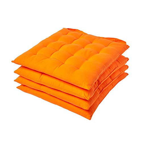 Homescapes Orange Seat Pads for Dining Chair, Set of 4 100% Cotton Chair Pads with Straps, 40x40 cm from Homescapes