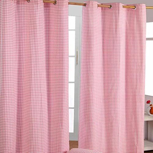 "Homescapes Pink Gingham Check Eyelet Curtain Pair 100% Cotton 137cm (54"") Wide x 228cm (90"") Drop from HOMESCAPES"