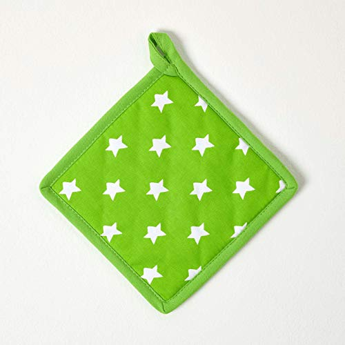 HOMESCAPES - Pure Cotton Pot Holder - Stars - Lime Green Orange - 20 x 20 cm - Fully Coordinated Washable Kitchen Linen from HOMESCAPES