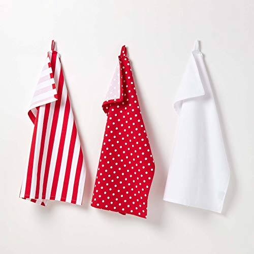 Homescapes - Pure Cotton Tea Towels Set of Three - Polka Dot - Red White - 50 x 70 cm - Fully Coordinated Washable Kitchen Linen from HOMESCAPES