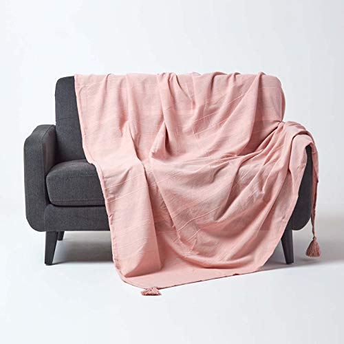 HOMESCAPES - Rajput Ribbed Throw/Bedspread - 225x255 cm (90 x 100 Inches) - Plain Pink - Handmade 100% Cotton - Suitable for most 1 or 2 Seater Sofas and Double/King beds - Easy care washable at home from HOMESCAPES