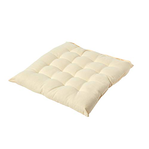 HOMESCAPES - Seat Pad - Cream - 40 x 40 cm - Chair Cushion with a Button Tie Handle to fix to Chair - 100% Cotton - Well Filled - Easy Care - Washable At Home from HOMESCAPES