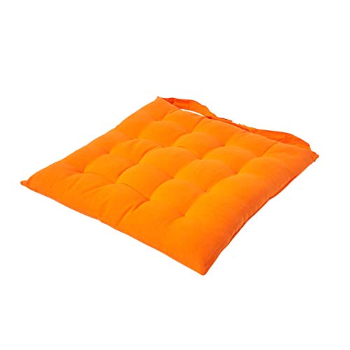 Homescapes - Seat Pad - Orange - 40 x 40 cm - Indoor - Garden - Dining - Chair Cushion with a Button Tie Handle to fix to Chair - 100% Cotton - Well Filled - Easy Care - Washable At Home from Homescapes