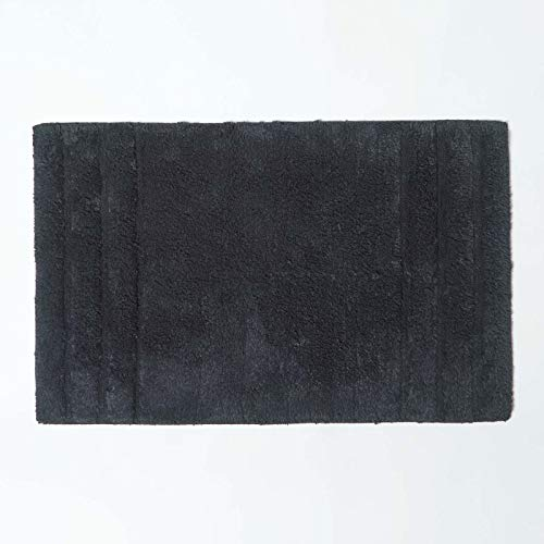 Homescapes Spa Supreme Luxury Bath Mat, Black, Very Heavy 1800 GSM, Super Soft Plush Cotton Rug, 50x80cm, Washable at Home. from HOMESCAPES