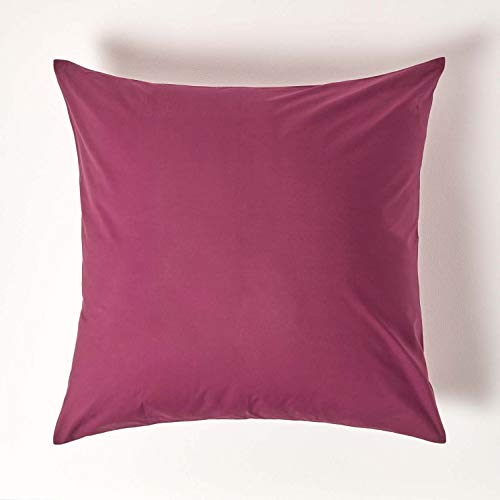 HOMESCAPES Plum Purple Pure Egyptian Cotton Euro Size Pillowcase 80 x 80 cm 200 TC 400 Thread Count Percale Equivalent Large Square Pillow Case with Zip from HOMESCAPES