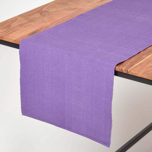 Homescapes - Table Runner - Purple - 100% Ribbed Cotton - 17 x 70 Inch (44 x 178 cm) - Easy Care - Washable at 40 Deg C from HOMESCAPES