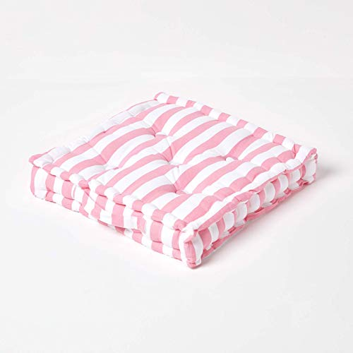 HOMESCAPES - Thick Stripe Pink - 100% Cotton - Large Floor Cushion - Soft Baby Pink - 50 x 50 x 10 cm Square - Indoor - Garden - Dining Chair Booster - Seat Pad Cushion. from HOMESCAPES