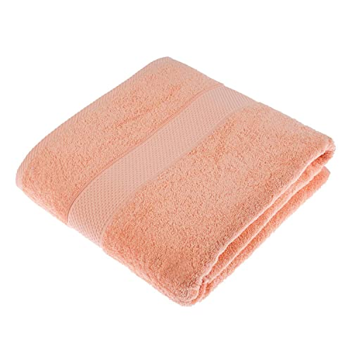 HOMESCAPES Turkish Cotton Jumbo Towel Peach Very Soft and Absorbent, 500 GSM Heavy Weight for everyday Luxury from HOMESCAPES