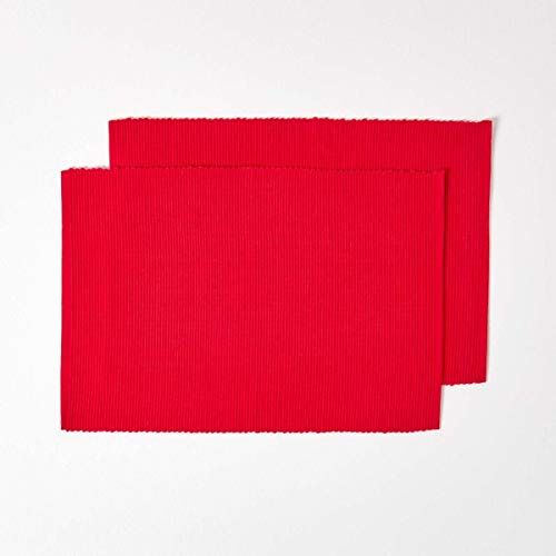Homescapes - Two - Placemats - Red - 100% Ribbed, Hand Loom Cotton - 12 x 18 Inch (30 x 45 cm) - Easy Care - Washable at 40 Deg C from HOMESCAPES