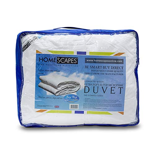 HOMESCAPES Super Microfibre Duvet 13.5 Tog 'Feels Like Down' Heavyweight Extra Thick Winter Duvet Hypoallergenic Anti Allergen & Anti Dustmite Ultrasoft Duvet Washable at Home, Double Size from HOMESCAPES