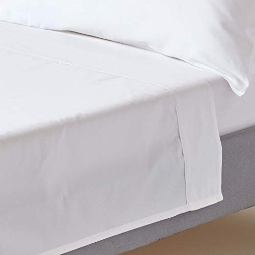 HOMESCAPES White Pure Organic Cotton Flat Sheet Single 400TC 600 Thread Count Equivalent Bed Sheet from HOMESCAPES