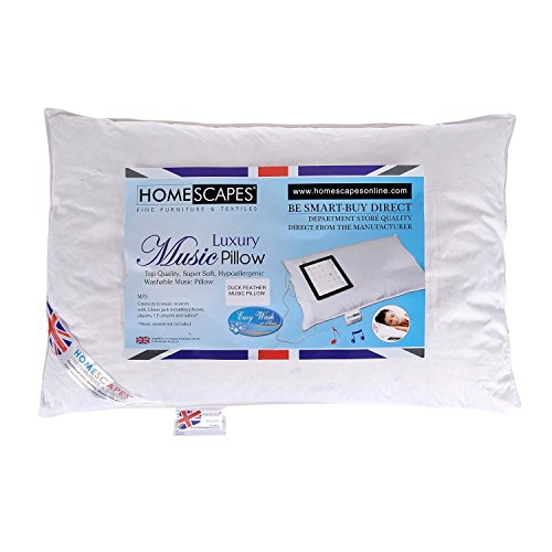 HOMESCAPES NEW WASHABLE - MUSIC Pillow - DUCK FEATHER Filling - Department Store Quality - Anti Dust Mite 100% Cotton Downproof Cover RDS Certified. from HOMESCAPES