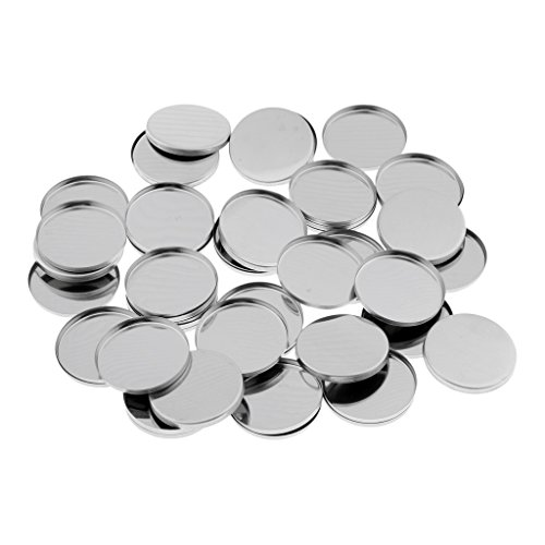 50 Pack Empty Round Metal Tin Palette Pans Cosmetic Eyeshadow Blush Lipstick Organizer Size 36 mm for Magnets Cosmetic Palettes from Homyl