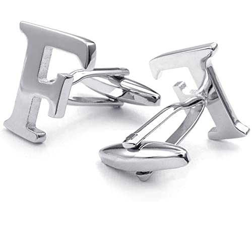 Honey Bear Mens Initial Alphabet Letter F Silver White Steel Wedding Formal Business Cufflinks from Honey Bear