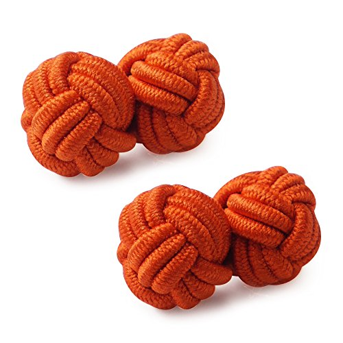 HONEY BEAR Mens/Women Silk Knot Cufflinks,Round for Shirt/Dress Business Wedding Gift (Orange) from HONEY BEAR