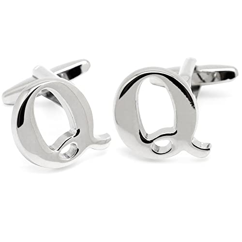 Mens Initial Alphabet Letter Silver White Steel Wedding Formal Business Cufflinks (Q) from HONEY BEAR