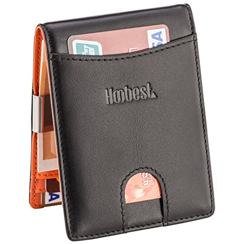 RFID SIim Wallet with Money Clip RFID Blocking Wallet | Credit Card Holder | Minimalist Mini Wallet Bifold for Men with Gift Box from Hoobest