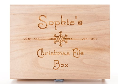 Personalised Engraved Wooden Christmas Eve Treat Box Snowflake Design from Hoolaroo
